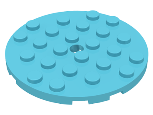 Plate, Round 6x6 with Hole (Medium Azure)