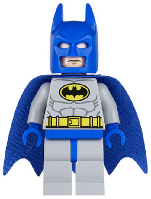 Batman - Light Bluish Gray Suit with Yellow Belt and Crest, Blue Mask and Cape (sh111)