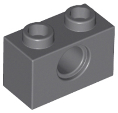 Technic, Brick 1x2 with Hole (Dark Bluish Gray)