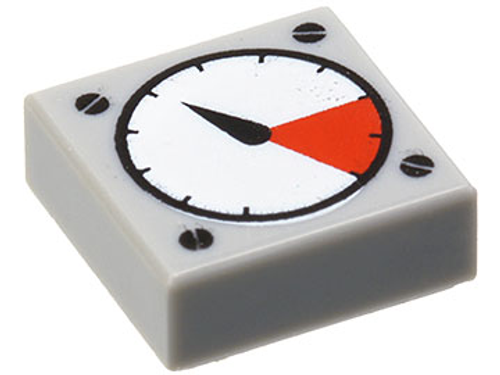 Tile 1x1 with Groove with White and Red Gauge Pattern (Light Bluish Gray)