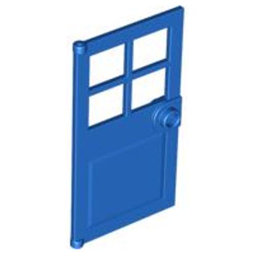 Door 1x4x6 with 4 Panes and Stud Handle (Blue)