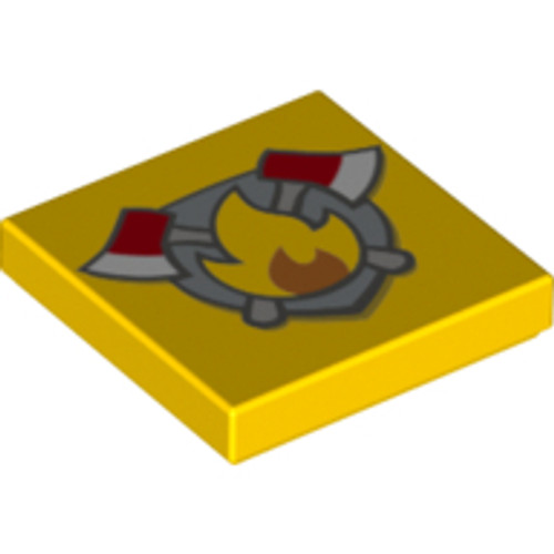 Tile 2x2 with Groove with Fire Badge and Axes Pattern (Yellow)
