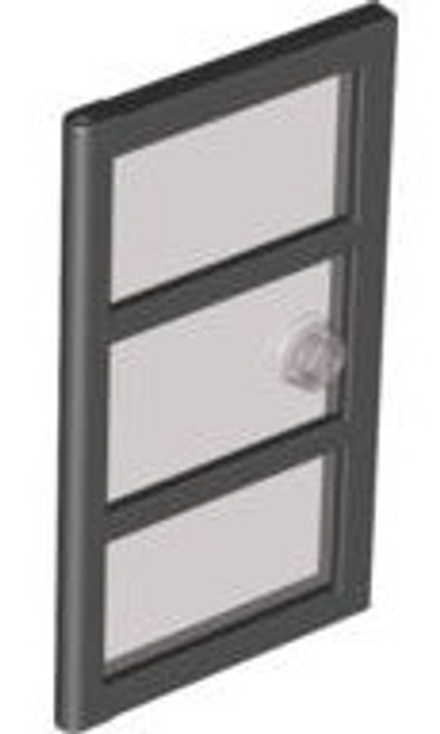 Door 1x4x6 with 3 Panes and Stud Handle with Trans-Black Glass  (Black)