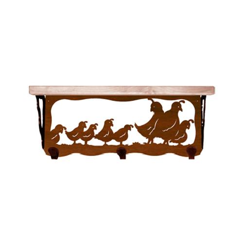 Quail Family 20 Inch Pine Hook Shelf