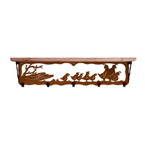 Quail Family 34 Inch Pine Hook Shelf