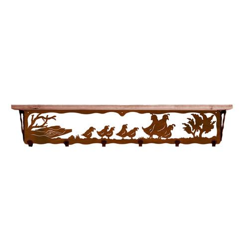 Quail Family 42 Inch Pine Hook Shelf