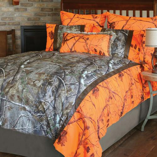 Realtree AP and Orange Blaze AP Camo Bed Set - Queen