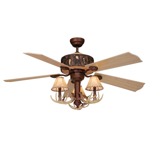Rustic Antler Ceiling Fan with Faux Leather Shades