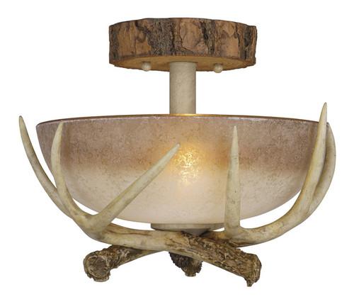 Rustic Antler Semi Flush Ceiling Light - 12 Inch