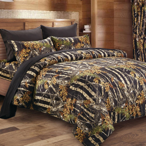 Black Woodland Camouflage Bedding Collection