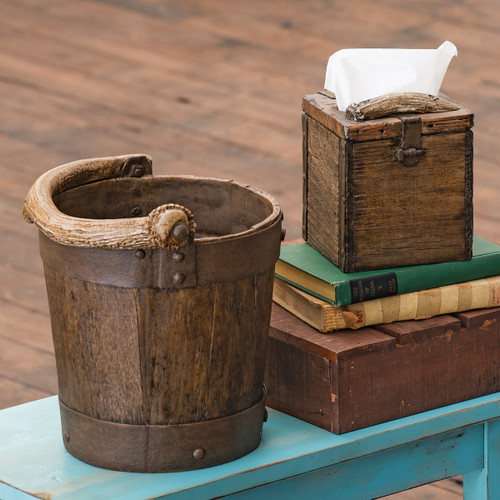 Bucket & Old Crate Antler Waste Basket and Tissue