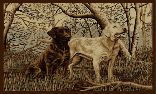 Two Labs in Forest Rug - 3 x 8