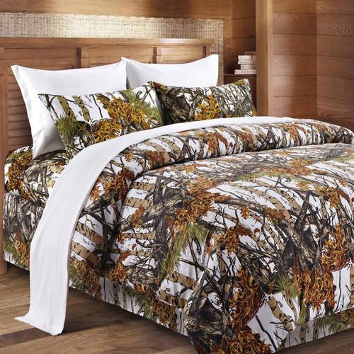 White Woodland Camouflage 6 Piece Sheet Set - King