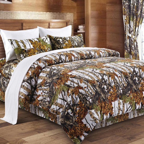 White Woodland Camouflage Comforter - Full/Queen