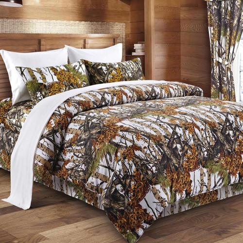 White Woodland Camouflage Comforter - Twin