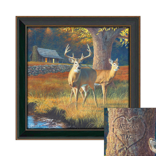 Wide Awake Whitetail Deer Personalized Canvas Art - Small
