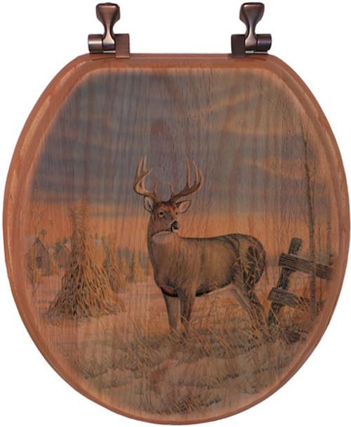 Whitetail Deer in Winter Toilet Seat