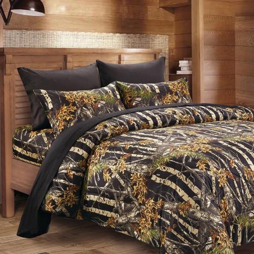 Black Woodland Camouflage 6 Piece Sheet Set - Queen