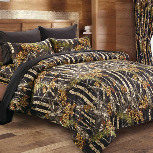 Black Woodland Camouflage Comforter - Full/Queen