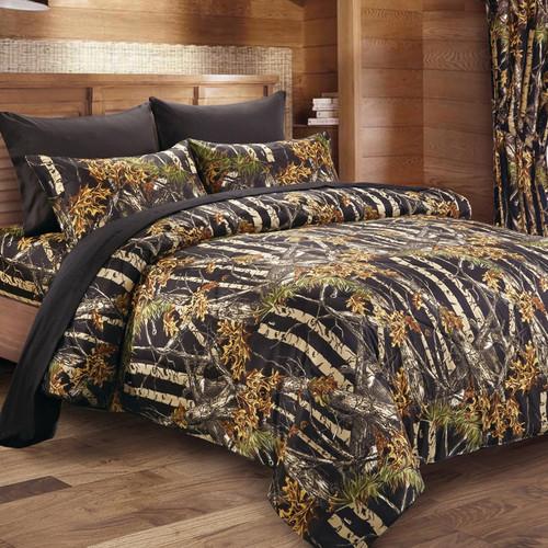 Black Woodland Camouflage Comforter - King - BACKORDERED UNTIL 10/29/2021