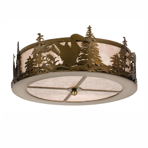 Cutout Metal Loon Round Flush Mount Light Fixture