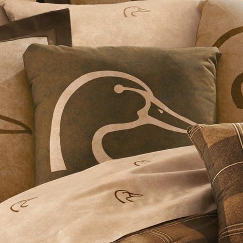 Ducks Unlimited Plaid Dark Square Pillow