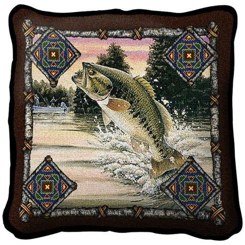 Fish Lodge Bass Pillow