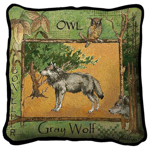 Gray Wolf Pillow