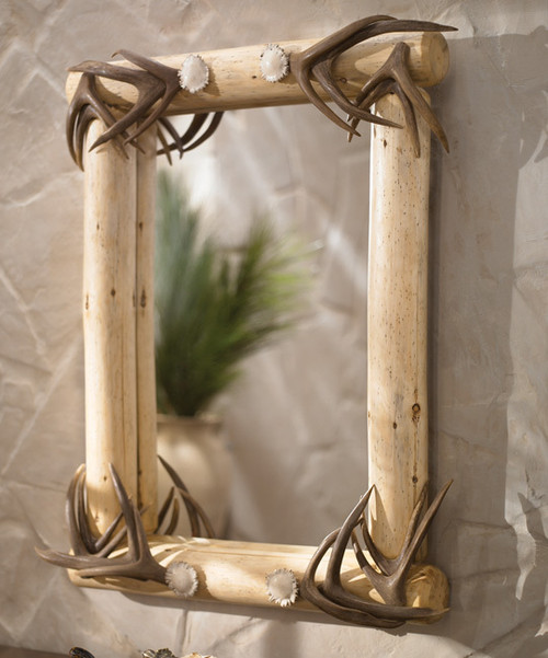 Lodgepole Framed Mirror w/Authentic Antler Corners
