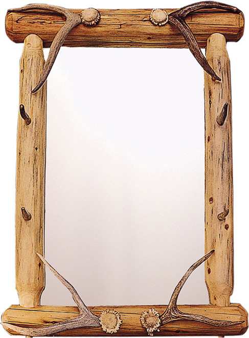 Lodgepole & Antler Tine Framed Mirror (Authentic Antlers)