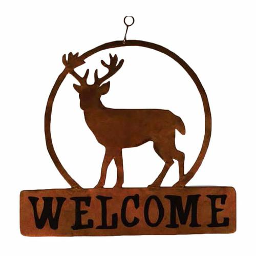 Lone Deer Metal Welcome Sign