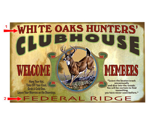 Whitetail Deer Clubhouse Sign