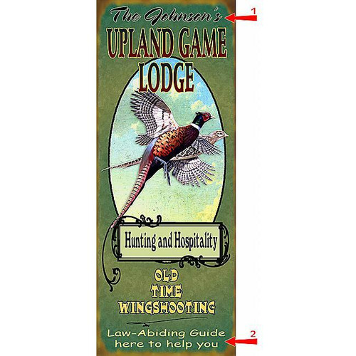 Pheasant Game Lodge Sign - 17 x 44