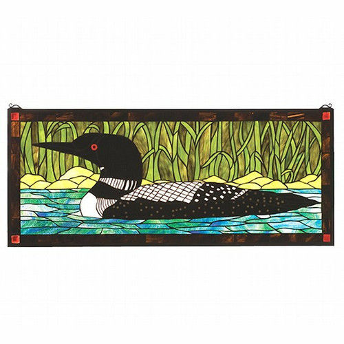 Rustic Loon Stained Glass Window