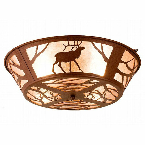 Elk at Sunset Flushmount Ceiling Fixture