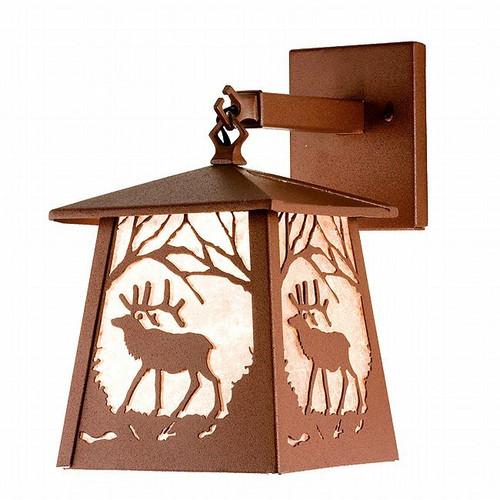 Elk at Sunset Lantern Wall Sconce