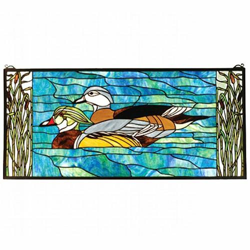Wood Ducks Stained Glass Window