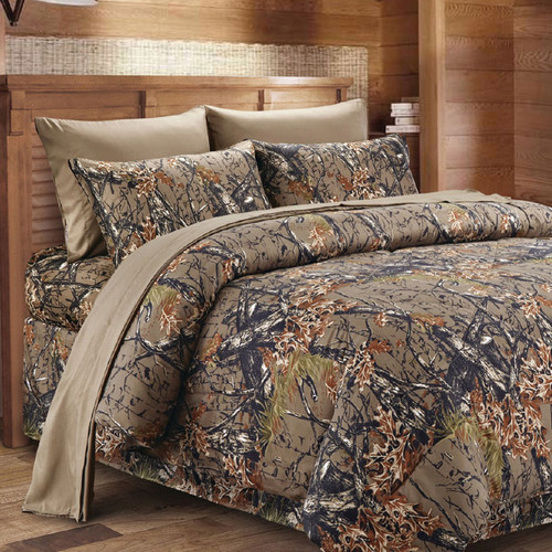 Natural Woodland Camouflage 3 Piece Sheet Set - Twin
