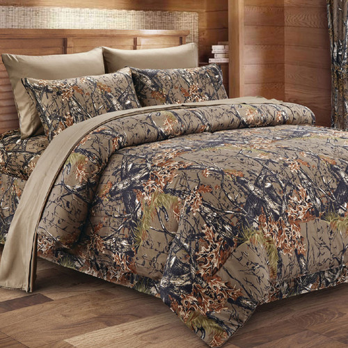 Natural Woodland Camouflage Comforter - Full/Queen
