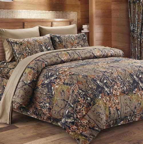 Natural Woodland Camouflage Comforter - King