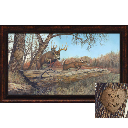 Personalized Whitetail Deer Framed Print - Large