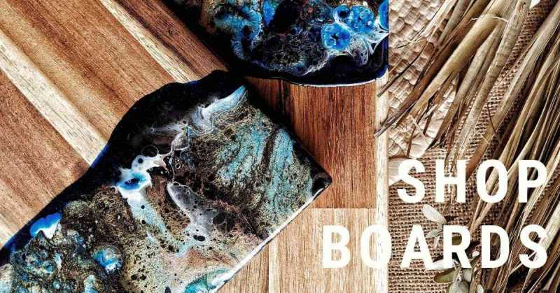 Melbourne made resin ocean inspired acacia wood chopping, cutting, serving and cheese boards