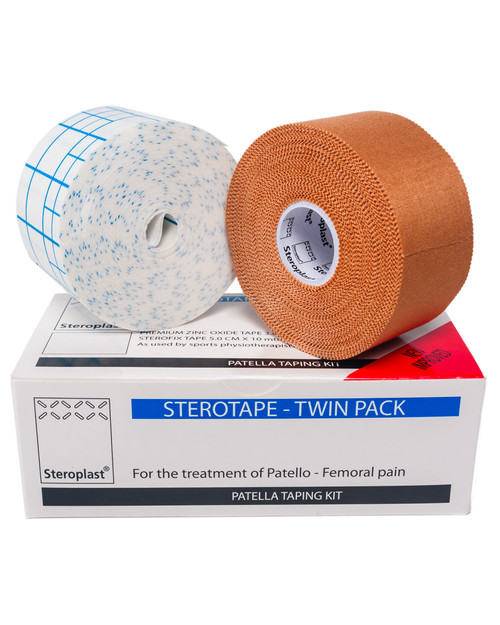 Steroplast Patella Sports Taping Kit | Zinc Oxide Strapping and Fixing Tape | Physical Sports First Aid