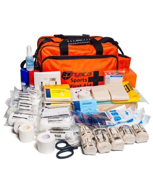 Ultimate Sports First Aid Kit | In Orange Nylon Holdall | Physical Sports First Aid