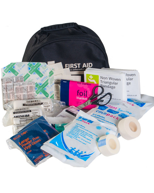 Standard Sports First Aid Kit | Black Bag and Contents | Physical Sports First Aid