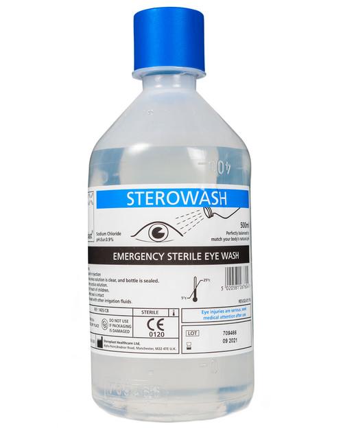 Sterowash Sterile Saline Solution | 500ml Bottle Eyewash | Physical Sports First Aid