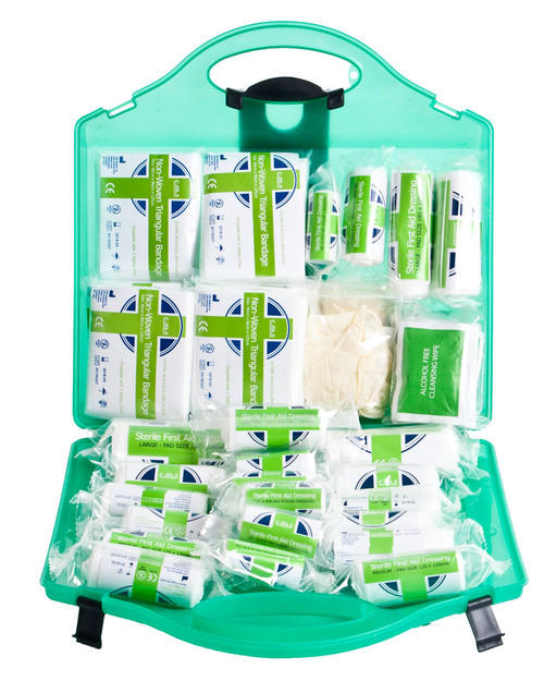 Standard Workplace First Aid Kit | Open Box Showing Contents | Physical Sports First Aid