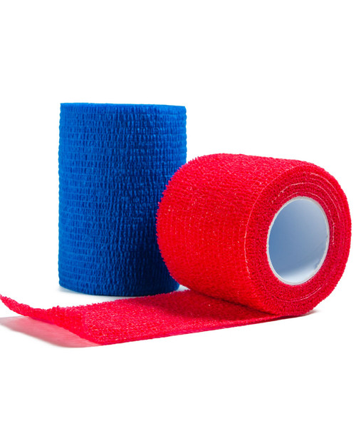 Latex Free Cohesive Bandage | Blue and Red | Physical Sports First Aid