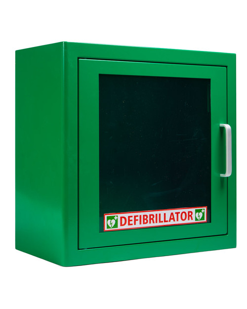 Metal Defibrillator Cabinet, Alarmed | Green Version | Physical Sports First Aid