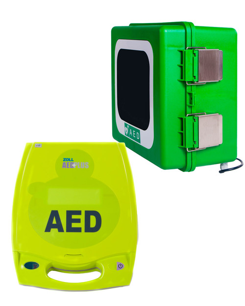 ZOLL AED Plus with Outdoor Cabinet Bundle Deal | Physical Sports First Aid